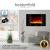 Heidenfeld Wandkamin Elektrisch HF-WK100 mit Fernbedienung - 3 Jahre Garantie - 1000 oder 2000 Watt - Flammensimulation - Heizthermostat - Kaminofen Elektrokamin Kaminfeuer (WK100C Flach Steinoptik) - 2