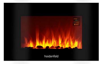 Heidenfeld Wandkamin Elektrisch HF-WK100 mit Fernbedienung - 3 Jahre Garantie - 1000 oder 2000 Watt - Flammensimulation - Heizthermostat - Kaminofen Elektrokamin Kaminfeuer (WK100C Flach Steinoptik) - 1