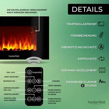 Heidenfeld Wandkamin Elektrisch HF-WK100 mit Fernbedienung - 3 Jahre Garantie - 1000 oder 2000 Watt - Flammensimulation - Heizthermostat - Kaminofen Elektrokamin Kaminfeuer (WK100C Flach Steinoptik) - 5