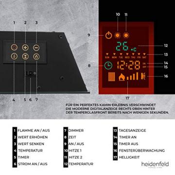 Heidenfeld Wandkamin Elektrisch HF-WK100 mit Fernbedienung - 3 Jahre Garantie - 1000 oder 2000 Watt - Flammensimulation - Heizthermostat - Kaminofen Elektrokamin Kaminfeuer (WK100C Flach Steinoptik) - 7