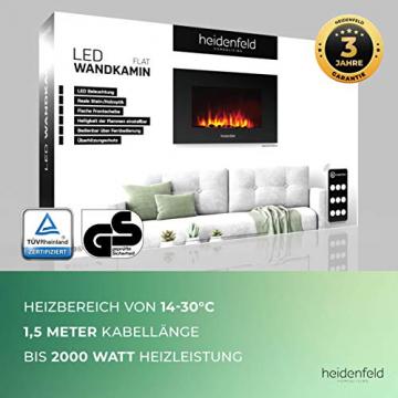 Heidenfeld Wandkamin Elektrisch HF-WK100 mit Fernbedienung - 3 Jahre Garantie - 1000 oder 2000 Watt - Flammensimulation - Heizthermostat - Kaminofen Elektrokamin Kaminfeuer (WK100C Flach Steinoptik) - 9