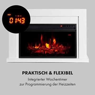 Klarstein Blanca Elektrischer Kamin Elektrokamin, 1000/2000 W, LED-Flammenillusion, Fernbedienung, Thermostat: 10-30 °C, Wochentimer, Open Window Detection, Überhitzungsschutz, MDF-Gehäuse, weiß - 5