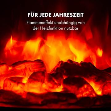 Klarstein Bormio Elektrischer Kamin mit Heizung - Elektrokamin, Elektrischer Kaminofen, 950/1900 Watt, Thermostat, zuschaltbare Heizfunktion, Flammeneffektet, Wochentimer, 49 x 55 x 35 cm, schwarz - 8