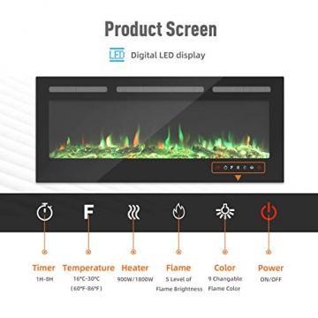 KUPPET 127 cm Elektrischer Kamin Versenkt und an der Wand Montiert mit Sicherheitsabschaltung & Timer, Touchscreen-Bedienbildschirm & Fernbedienung, Digitaler LED-Anzeige, Schwarzem Glas - 2