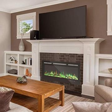KUPPET 127 cm Elektrischer Kamin Versenkt und an der Wand Montiert mit Sicherheitsabschaltung & Timer, Touchscreen-Bedienbildschirm & Fernbedienung, Digitaler LED-Anzeige, Schwarzem Glas - 7