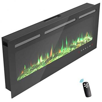 KUPPET 127 cm Elektrischer Kamin Versenkt und an der Wand Montiert mit Sicherheitsabschaltung & Timer, Touchscreen-Bedienbildschirm & Fernbedienung, Digitaler LED-Anzeige, Schwarzem Glas - 8