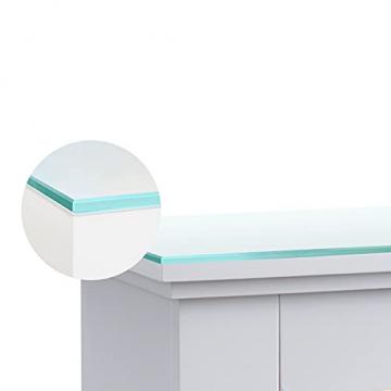 RICHEN Elektrokamin Argon mit Glasplatte - Elektrischer Standkamin Mit Heizung, LED-Beleuchtung, 3D-Flammeneffekt & Fernbedienung - Elektrischer Kamin Weiß - 4