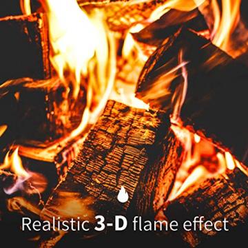 Sekey Home Elektrischer Kamin Standkamin Mit Heizung, 3D-Flammeneffekt, Thermostat, Wochentimer, Fernbedienung, Wochentimer, Geräuscharm, Holzoptik, Dunkelbraun - 4