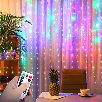 Yizhet Lichtervorhang 3x3m LED Lichterkette LED Lichterkettenvorhang mit 8 Modi, IP44 Wasserdicht Deko für Weihnachten, Partydekoration, Innenbeleuchtung (300LED, Bunt) - 2