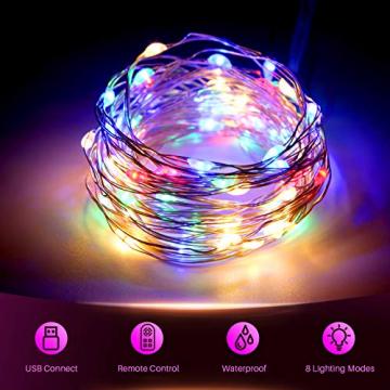 Yizhet Lichtervorhang 3x3m LED Lichterkette LED Lichterkettenvorhang mit 8 Modi, IP44 Wasserdicht Deko für Weihnachten, Partydekoration, Innenbeleuchtung (300LED, Bunt) - 5