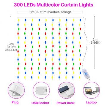 Yizhet Lichtervorhang 3x3m LED Lichterkette LED Lichterkettenvorhang mit 8 Modi, IP44 Wasserdicht Deko für Weihnachten, Partydekoration, Innenbeleuchtung (300LED, Bunt) - 6
