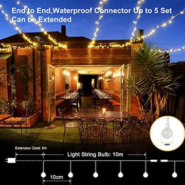 100 LED Lichterkette Strombetrieben,15M Lichterkette Kugel Warmweiß mit Stecker,IP65 Wasserdicht Lichterketten mit Dimmbar Fernbedienung,Ideal für Außen und Innen - 5