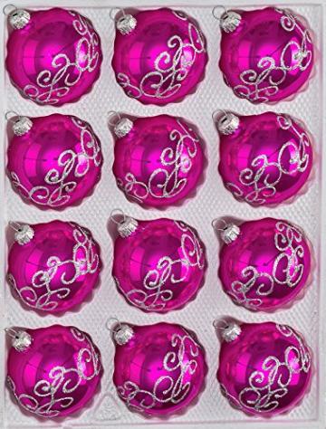 """12 tlg. Glas-Weihnachtskugeln Set in """"Hochglanz-Pink-Silberne-Ornamente - Neuheit -"""" Christbaumkugeln - Weihnachtsschmuck-Christbaumschmuck - 1"""