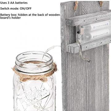 2 Stück Mason Jar LED Lichterketten,Wandleuchten Rustikale Wand Holz-Deko und Künstliche Blumen,Wandkerzenhalter LED Licht für Home Wohnzimmer Dekoration,Schlafzimmer,Glas Weihnachtsdeko (Grau) - 3