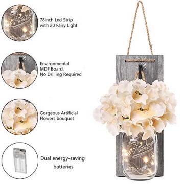 2 Stück Mason Jar LED Lichterketten,Wandleuchten Rustikale Wand Holz-Deko und Künstliche Blumen,Wandkerzenhalter LED Licht für Home Wohnzimmer Dekoration,Schlafzimmer,Glas Weihnachtsdeko (Grau) - 4