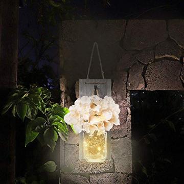 2 Stück Mason Jar LED Lichterketten,Wandleuchten Rustikale Wand Holz-Deko und Künstliche Blumen,Wandkerzenhalter LED Licht für Home Wohnzimmer Dekoration,Schlafzimmer,Glas Weihnachtsdeko (Grau) - 6