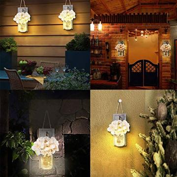 2 Stück Mason Jar LED Lichterketten,Wandleuchten Rustikale Wand Holz-Deko und Künstliche Blumen,Wandkerzenhalter LED Licht für Home Wohnzimmer Dekoration,Schlafzimmer,Glas Weihnachtsdeko (Grau) - 8