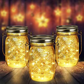 3 Stück Solarlampen für Außen | 40er LED Solar Licht mit Windmühlenmuster für Garten | Solarglas Lichterkette Leuchten Garten Lampions Solar Außen Wetterfest Hängeleuchten Gartendeko für Party - 1