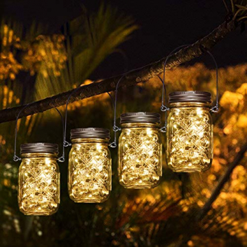 3 Stück Solarlampen für Außen | 40er LED Solar Licht mit Windmühlenmuster für Garten | Solarglas Lichterkette Leuchten Garten Lampions Solar Außen Wetterfest Hängeleuchten Gartendeko für Party - 7