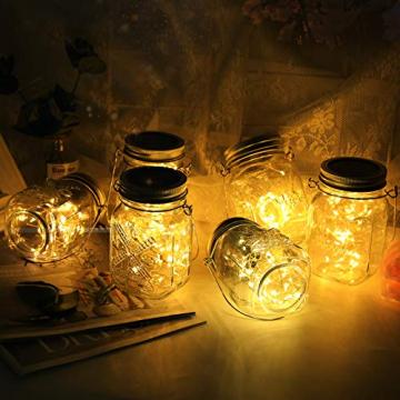 3 Stück Solarlampen für Außen | 40er LED Solar Licht mit Windmühlenmuster für Garten | Solarglas Lichterkette Leuchten Garten Lampions Solar Außen Wetterfest Hängeleuchten Gartendeko für Party - 9