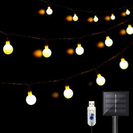 DeepDream 11 Meter 60 LED Kugel Solar Lichterkette Aussen,USB Globe Lichterkette 8 Modus Wasserdicht Innen und Außen für Garten, Hochzeit, Balkon, Haus, Weihnachten Deko, Warmweiß - 1