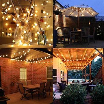 DeepDream 11 Meter 60 LED Kugel Solar Lichterkette Aussen,USB Globe Lichterkette 8 Modus Wasserdicht Innen und Außen für Garten, Hochzeit, Balkon, Haus, Weihnachten Deko, Warmweiß - 4