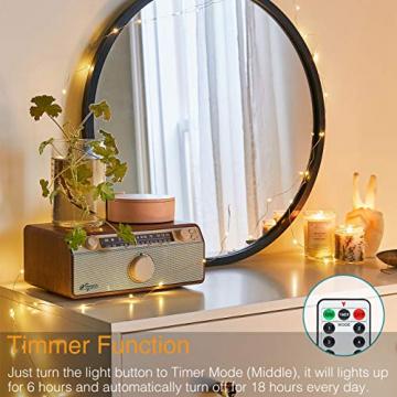 【2 Stück】 Lichterkette Batterie, 12M 120 LED Litogo Lichterkette Kupferdraht Batterie Timer und Fernbedienung Mini LED Leuchtdraht Wasserdichte mit 8 Modi für Innen, Außen Weihnachten Deko Warm weiß - 3