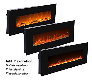 GLOW FIRE Mars Elektrokamin mit Heizung, Wandkamin mit LED | Künstliches Feuer mit zuschaltbarem Heizlüfter: 750/1500 W | Fernbedienung, 126 cm, Schwarz, Holzdekoration - 3