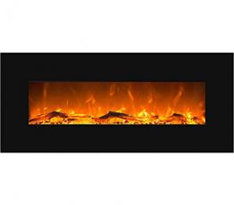GLOW FIRE Mars Elektrokamin mit Heizung, Wandkamin mit LED   Künstliches Feuer mit zuschaltbarem Heizlüfter: 750/1500 W   Fernbedienung, 126 cm, Schwarz, Holzdekoration - 1