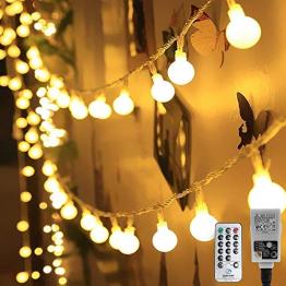 HAUSPROFI 100er LEDS Kugel Lichterkette 10M Dimmbar, Globe Lichterkette mit EU Stecker für Innen und Außen, 8 Leuchtmodi, ideale Partylichterkette für Weihnachtsdeko, Hochzeit, Party usw, Wasserdicht - 1
