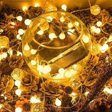 HAUSPROFI 100er LEDS Kugel Lichterkette 10M Dimmbar, Globe Lichterkette mit EU Stecker für Innen und Außen, 8 Leuchtmodi, ideale Partylichterkette für Weihnachtsdeko, Hochzeit, Party usw, Wasserdicht - 5