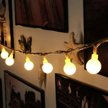 HAUSPROFI 100er LEDS Kugel Lichterkette 10M Dimmbar, Globe Lichterkette mit EU Stecker für Innen und Außen, 8 Leuchtmodi, ideale Partylichterkette für Weihnachtsdeko, Hochzeit, Party usw, Wasserdicht - 6