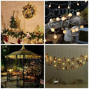 HAUSPROFI 100er LEDS Kugel Lichterkette 10M Dimmbar, Globe Lichterkette mit EU Stecker für Innen und Außen, 8 Leuchtmodi, ideale Partylichterkette für Weihnachtsdeko, Hochzeit, Party usw, Wasserdicht - 7