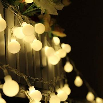 HAUSPROFI 100er LEDS Kugel Lichterkette 10M Dimmbar, Globe Lichterkette mit EU Stecker für Innen und Außen, 8 Leuchtmodi, ideale Partylichterkette für Weihnachtsdeko, Hochzeit, Party usw, Wasserdicht - 8