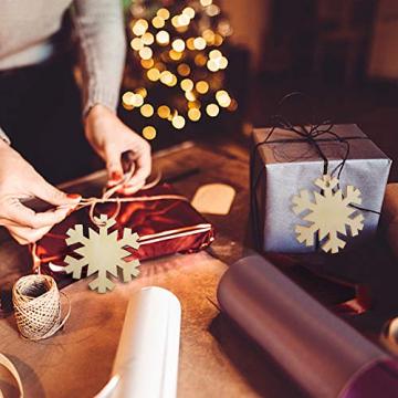 Heqishun 40 Stück Weihnachtsbaum Anhänger Holz Schneeflocke zum Bemalen und Verzieren DIY Deko für Weihnachten Holz Schneeflocke Weihnachtsanhänger DIY Weihnachtsdekoration Holz Scheiben - 3