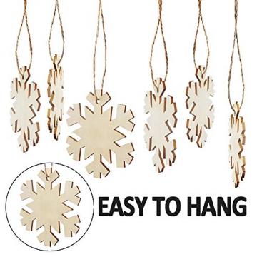 Heqishun 40 Stück Weihnachtsbaum Anhänger Holz Schneeflocke zum Bemalen und Verzieren DIY Deko für Weihnachten Holz Schneeflocke Weihnachtsanhänger DIY Weihnachtsdekoration Holz Scheiben - 4