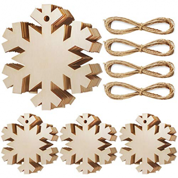 Heqishun 40 Stück Weihnachtsbaum Anhänger Holz Schneeflocke zum Bemalen und Verzieren DIY Deko für Weihnachten Holz Schneeflocke Weihnachtsanhänger DIY Weihnachtsdekoration Holz Scheiben - 1
