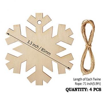 Heqishun 40 Stück Weihnachtsbaum Anhänger Holz Schneeflocke zum Bemalen und Verzieren DIY Deko für Weihnachten Holz Schneeflocke Weihnachtsanhänger DIY Weihnachtsdekoration Holz Scheiben - 5