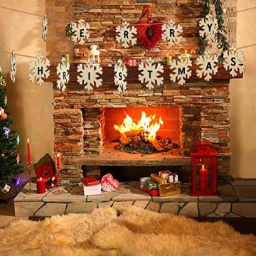 Heqishun 40 Stück Weihnachtsbaum Anhänger Holz Schneeflocke zum Bemalen und Verzieren DIY Deko für Weihnachten Holz Schneeflocke Weihnachtsanhänger DIY Weihnachtsdekoration Holz Scheiben - 6