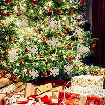 Heqishun 40 Stück Weihnachtsbaum Anhänger Holz Schneeflocke zum Bemalen und Verzieren DIY Deko für Weihnachten Holz Schneeflocke Weihnachtsanhänger DIY Weihnachtsdekoration Holz Scheiben - 7