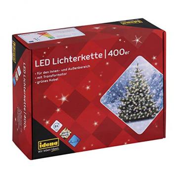 Idena 31123 - LED Lichterkette mit 400 LED in warmweiß, mit 8 Stunden Timer Funktion und Transformator, ca. 47,9 m lang, Innen- und Außenbereich, als Deko für Partys, Weihnachten, Hochzeit - 1