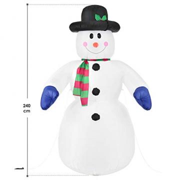 Juskys XXL Schneemann 240 cm aufblasbar mit integr. Gebläse & 20 LEDs, Weihnachtsdeko beleuchtet IP44, Winterdeko für Außen mit 6 Heringe & 3 Seile - 2