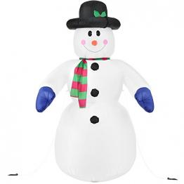 Juskys XXL Schneemann 240 cm aufblasbar mit integr. Gebläse & 20 LEDs, Weihnachtsdeko beleuchtet IP44, Winterdeko für Außen mit 6 Heringe & 3 Seile - 1
