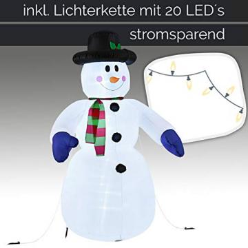 Juskys XXL Schneemann 240 cm aufblasbar mit integr. Gebläse & 20 LEDs, Weihnachtsdeko beleuchtet IP44, Winterdeko für Außen mit 6 Heringe & 3 Seile - 4
