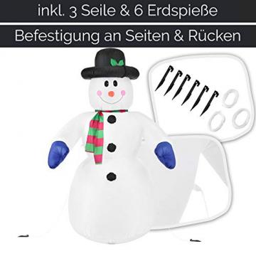 Juskys XXL Schneemann 240 cm aufblasbar mit integr. Gebläse & 20 LEDs, Weihnachtsdeko beleuchtet IP44, Winterdeko für Außen mit 6 Heringe & 3 Seile - 5