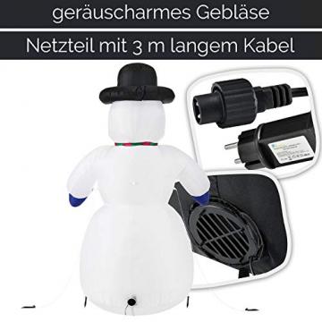 Juskys XXL Schneemann 240 cm aufblasbar mit integr. Gebläse & 20 LEDs, Weihnachtsdeko beleuchtet IP44, Winterdeko für Außen mit 6 Heringe & 3 Seile - 6