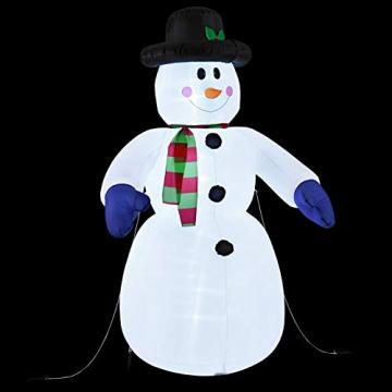 Juskys XXL Schneemann 240 cm aufblasbar mit integr. Gebläse & 20 LEDs, Weihnachtsdeko beleuchtet IP44, Winterdeko für Außen mit 6 Heringe & 3 Seile - 7