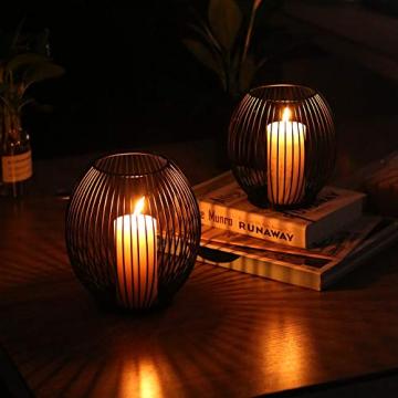 Kerzenständer 2er Set, Kerzenhalter Schwarz Oval Metall Kerzenleuchter für Wohnzimmer Schlafzimmer Vintage Deko, Hochzeit Bankett Weihnachts Kerzenleuchter 14 *15.5 / 16 * 18cm - 2