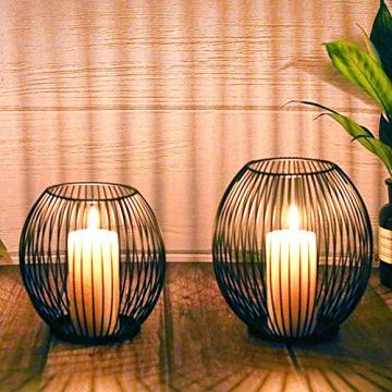 Kerzenständer 2er Set, Kerzenhalter Schwarz Oval Metall Kerzenleuchter für Wohnzimmer Schlafzimmer Vintage Deko, Hochzeit Bankett Weihnachts Kerzenleuchter 14 *15.5 / 16 * 18cm - 1