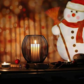 Kerzenständer 2er Set, Kerzenhalter Schwarz Oval Metall Kerzenleuchter für Wohnzimmer Schlafzimmer Vintage Deko, Hochzeit Bankett Weihnachts Kerzenleuchter 14 *15.5 / 16 * 18cm - 5